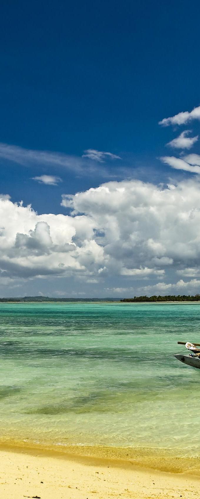 Three fishing boats at northern Zanzibar coast